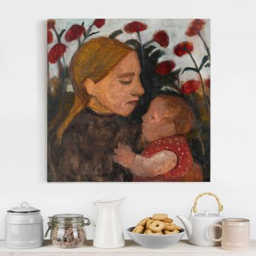 Leinwandbild - Paula Modersohn-Becker - Junge Frau mit dem Kind - Quadrat 1:1