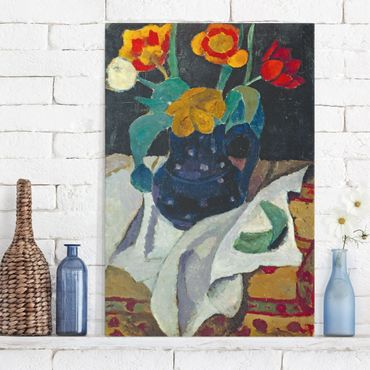Leinwandbild - Paula Modersohn-Becker - Stillleben mit Tulpen in blauem Topf - Hoch 2:3