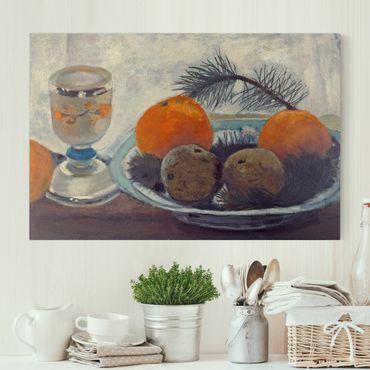 Leinwandbild - Paula Modersohn-Becker - Stillleben mit Mattglasbecher, Äpfeln und Kiefernzweig - Quer 3:2