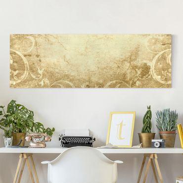Leinwandbild - Pergament mit Ornamentik - Panorama Quer