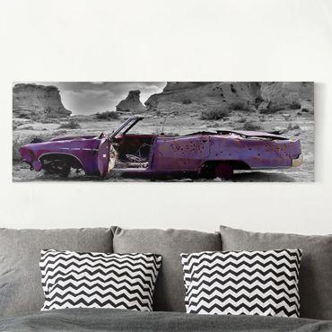 Leinwandbild - Pink Cadillac - Panorama Quer