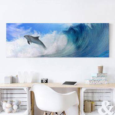 Leinwandbild - Playing Dolphins - Panorama Quer