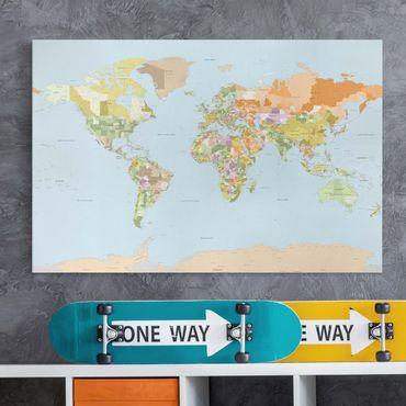 Leinwandbild - Politische Weltkarte - Quer 3:2