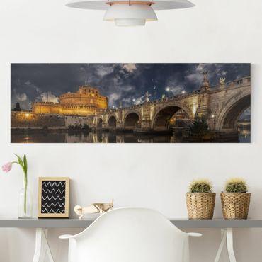 Leinwandbild - Ponte Sant'Angelo in Rom - Panorama Quer