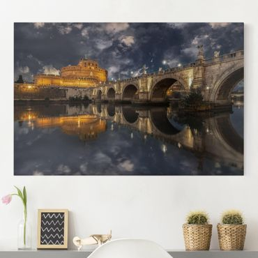 Leinwandbild - Ponte Sant'Angelo in Rom - Quer 3:2