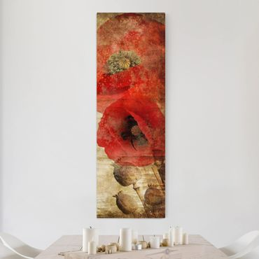 Leinwandbild - Poppy Flower - Panorama Hoch
