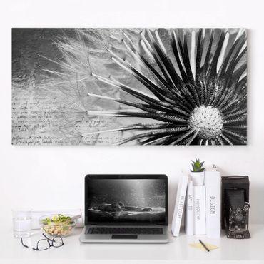 Leinwandbild Schwarz-Weiß - Pusteblume Schwarz & Weiß - Quer 2:1