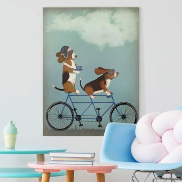 Leinwandbild - Radtour - Bassets Tandem - Hochformat 4:3