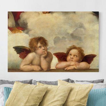 Leinwandbild - Raffael - Zwei Engel. Detail aus Die Sixtinische Madonna - Quer 3:2