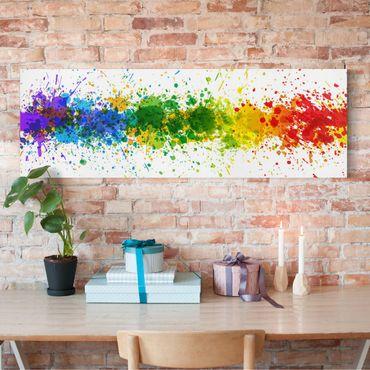 Leinwandbild - Rainbow Splatter - Panorama Quer