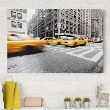 Leinwandbild Schwarz-Weiß - Rasantes New York - Quer 3:2