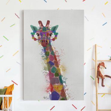Leinwandbild - Regenbogen Splash Giraffe - Hochformat 3:2