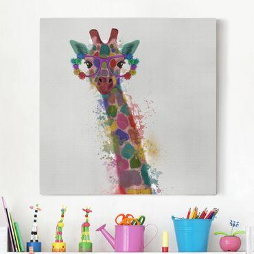 Leinwandbild - Regenbogen Splash Giraffe - Quadrat 1:1
