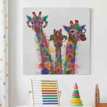 Leinwandbild - Regenbogen Splash Giraffen-Trio - Quadrat 1:1