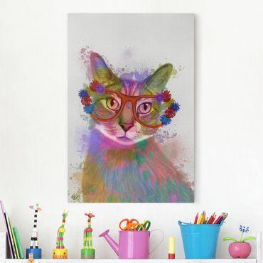 Leinwandbild - Regenbogen Splash Katze - Hochformat 3:2