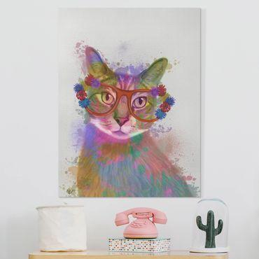 Leinwandbild - Regenbogen Splash Katze - Hochformat 4:3