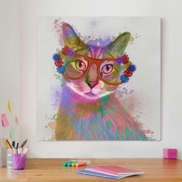 Leinwandbild - Regenbogen Splash Katze - Quadrat 1:1