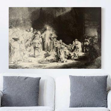 Leinwandbild Schwarz-Weiß - Rembrandt van Rijn - Christus heilt die Kranken. Das Hundertguldenblatt - Quer 3:2