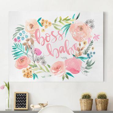 Leinwandbild - Rosa Blüten - Boss Babe - Querformat 3:4