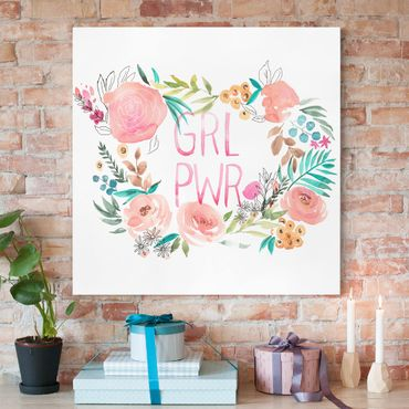 Leinwandbild - Rosa Blüten - Girl Power - Quadrat 1:1