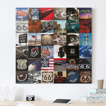 Leinwandbild - Route 66 - Collage Lifestyle - Quadrat 1:1