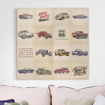 Leinwandbild - Route 66 - Collage Oldtimer - Quadrat 1:1