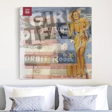 Leinwandbild - Route 66 - Pin-Up Pleasure - Quadrat 1:1