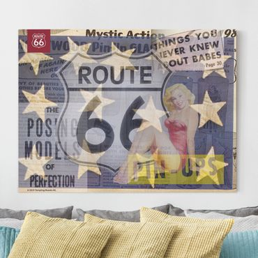 Leinwandbild - Route 66 - Pin-Up Posing - Querformat 3:4