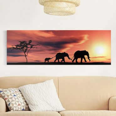 Afrika Leinwandbild Savannah Elefant Family - Rot, Schwarz, Panorama Quer