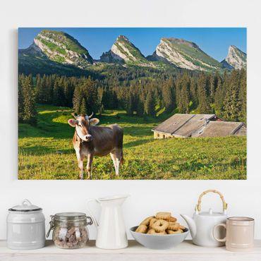 Leinwandbild - Schweizer Almwiese mit Kuh - Quer 3:2