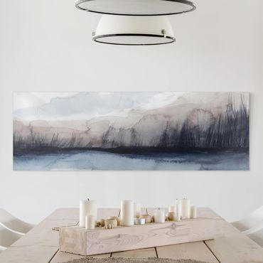 Leinwandbild - Seeufer mit Bergen I - Panorama 1:3