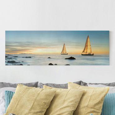 Leinwandbild - Segelschiffe im Ozean - Panorama Quer
