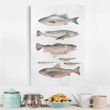 Leinwandbild - Sieben Fische in Aquarell I - Hochformat 3:2