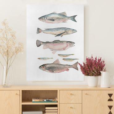 Leinwandbild - Sieben Fische in Aquarell I - Hochformat 4:3