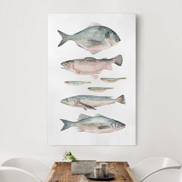 Leinwandbild - Sieben Fische in Aquarell II - Hochformat 3:2