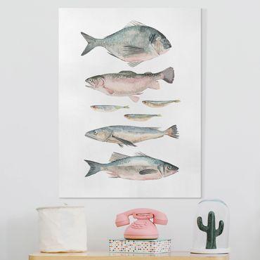 Leinwandbild - Sieben Fische in Aquarell II - Hochformat 4:3