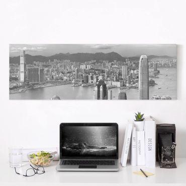 Leinwandbild Schwarz-Weiß - Skyline Nostalgia - Panoramabild Quer