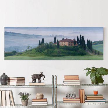 Leinwandbild - Sonnenaufgang in der Toskana - Panorama Quer