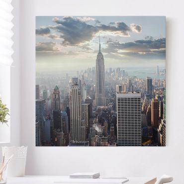 Leinwandbild - Sonnenaufgang in New York - Quadrat 1:1