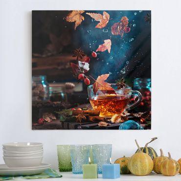 Leinwandbild - Teetasse im Herbst - Quadrat 1:1