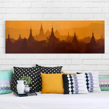 Leinwandbild - Tempelstadt in Myanmar - Panorama Quer