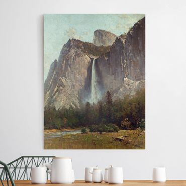 Leinwandbild - Thomas Hill - Bridal Veil Falls - Yosemite Valley - Hoch 3:4