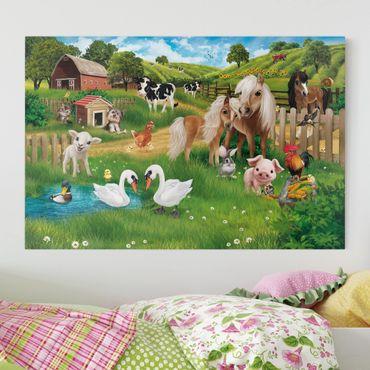 Leinwandbild Kinderzimmer - Tiere auf dem Bauernhof - Querformat 3:2