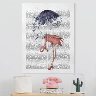 Leinwandbild - Tierlektüre - Flamingo mit Regenschirm - Hochformat 4:3