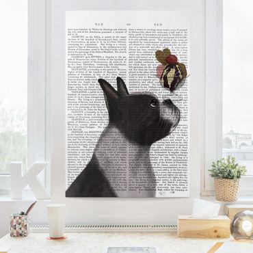Leinwandbild - Tierlektüre - Terrier mit Eis - Hochformat 3:2