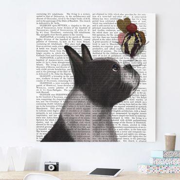 Leinwandbild - Tierlektüre - Terrier mit Eis - Quadrat 1:1