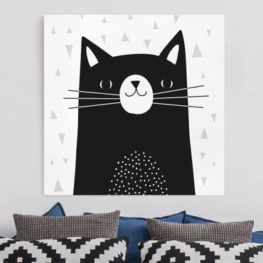 Leinwandbild - Tierpark mit Mustern - Katze - Quadrat 1:1
