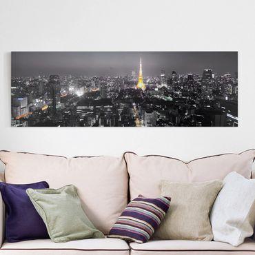 Leinwandbild Schwarz-Weiß - Tokio - Panoramabild Quer