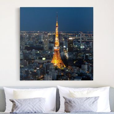 Leinwandbild - Tokyo Tower - Quadrat 1:1
