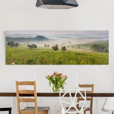 Leinwandbild - Toskana Frühling - Panorama Quer